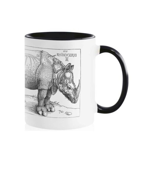 Rhinocerus Ceramic White Mug