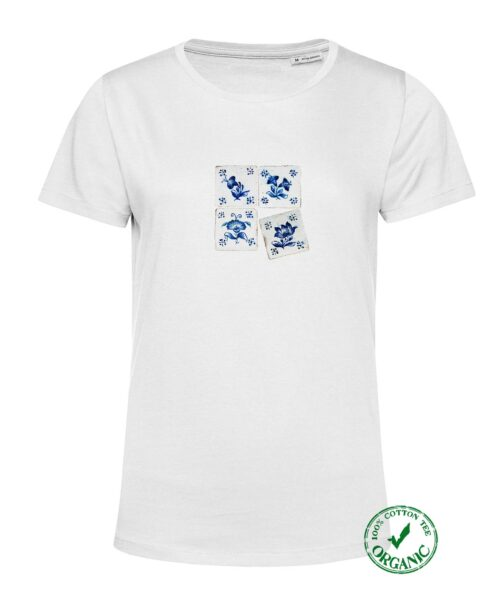 Blue Tile Women's White T-shirt, elegant win all 4 options