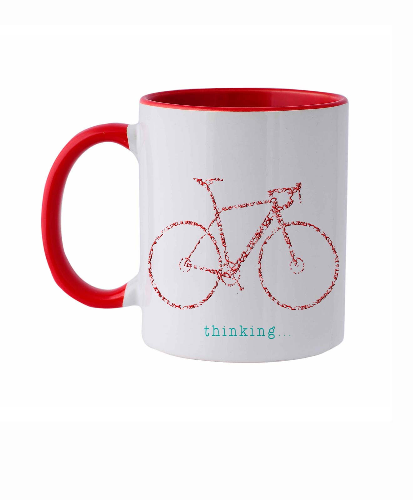 Bike Ceramic White Mug red road bike