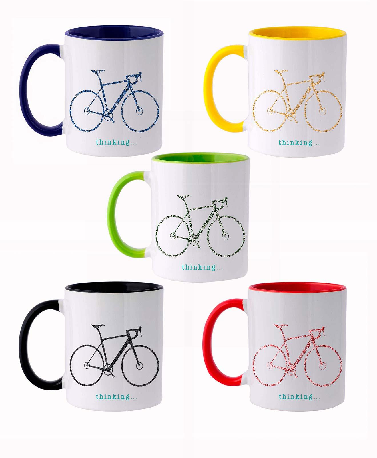 Bike Ceramic White Mug road set of 5