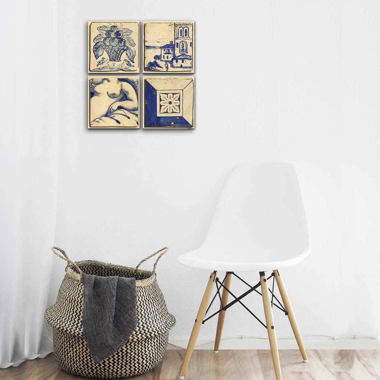 Blue Tiles Wood Print