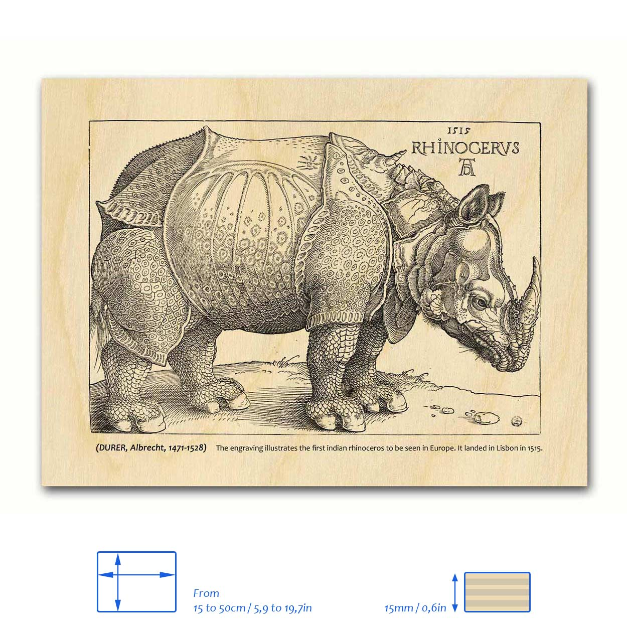 Rhinocerus wood print